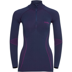 Odlo Evolution Shirt Langarm Rollkragen 1/2 Zip Damen peacoat/pink glo